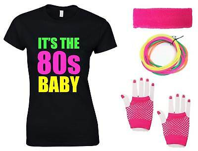IT'S THE 80s BABY Ladies T-Shirt & Accessories Fancy Dress Costume Outfit Neon