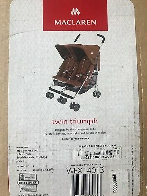 Maclaren Twin Triumph Buggy WEX14013 Coffe Brown Brand New!!!