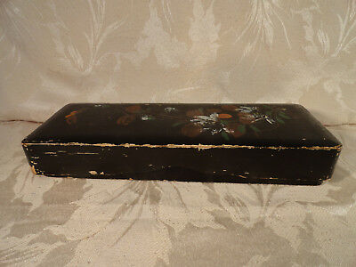 Vintage black Japanese 9.5 inch lacquered wooden glove box