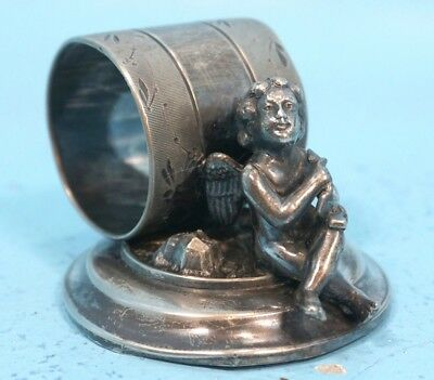 Antique Victorian Napkin Ring Cupid Angel Putto Meriden Silver Plate 219 c1890