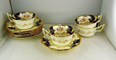 4 Coalport Antique China Hand Painted Cobalt & Heavy Gold Cup & Saucer Sets