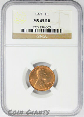 1971 1c NGC MS 65 RB Uncirculated Lincoln Memorial Cent Philadelphia Mint Coin