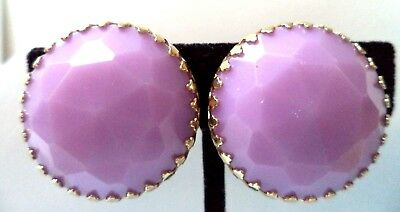 "Stunning Vintage Estate Purple Cab Gold Tone 1 1/4"" Clip Earrings!!! 8612D"