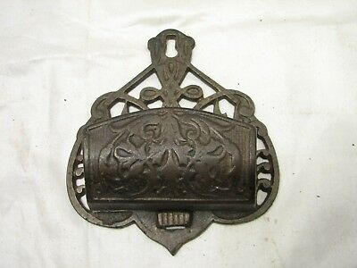 Victorian Cast Iron Match Safe Holder Early Ornate Kitchen Wall Fireplace Mantle