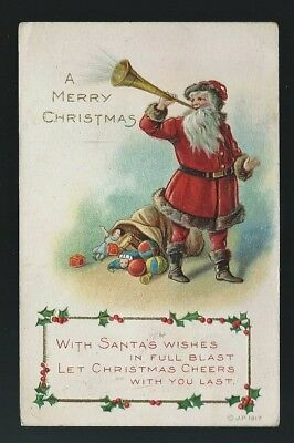 CPA Gaufrée  Pere noel a Merry Christimas with santas wishes 1917