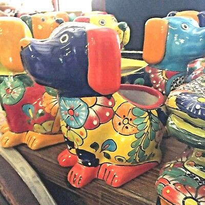 Talavera Mexican Pottery - Animals - Dog Planter - Assorted Colors