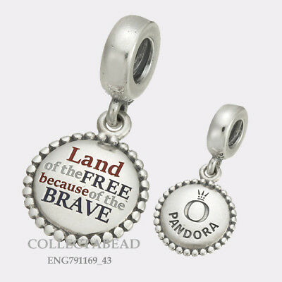 Authentic Pandora Silver Land of the Free Engraved Dangle Bead ENG791169_43