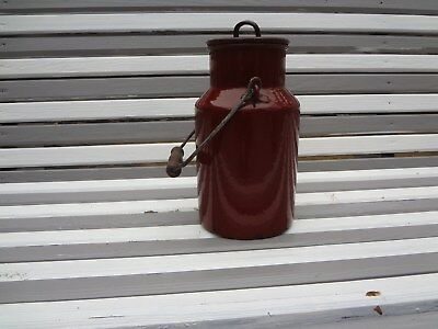 Vintage Antique Red Enamelware Jug w/Cover & Wood Handle/Large - French Country