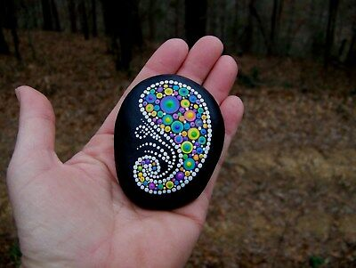 OOAK Hand Painted Stone, Dotted Mandala , Dot Zen  river rock,beach stones gift