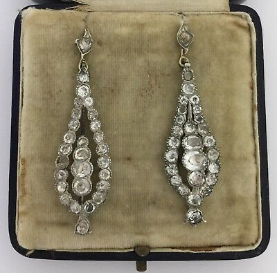 An Impressive Pair Of Georgian White Paste Earrings Circa 1800's