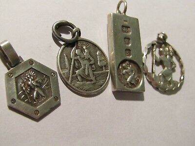 4 X Solid Silver St Christopher's, No Reserve