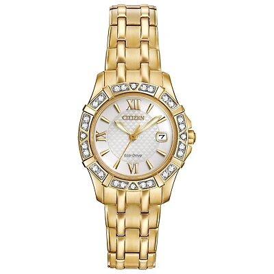 Citizen Eco-Drive Women's EW2362-55A Diamond Accents Gold-Tone 26mm Watch