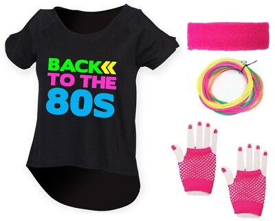 BACK TO THE 80s Ladies Drop Top & Accessories Fancy Dress Costume Outfit Neon
