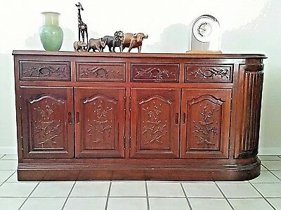 Credenza Console Cabinet Hand Carved Both Sides Solid Wood Drawers Chinese WOW