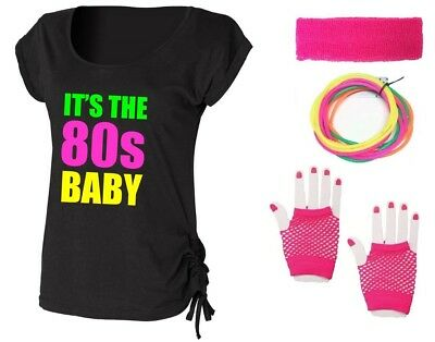 IT'S THE 80s BABY Ladies Top & Accessories Fancy Dress Costume Outfit Neon 80's