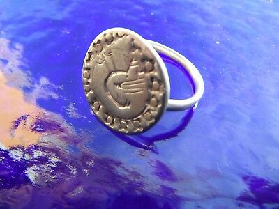 Viking Silver Ring Imprinted With Image Of A Raven