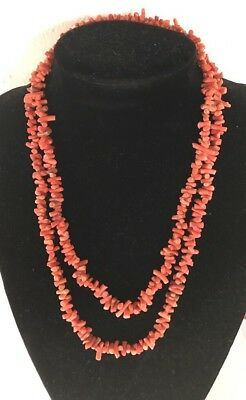 Long Vintage Antique Real Salmon Coral Necklace 79.6g