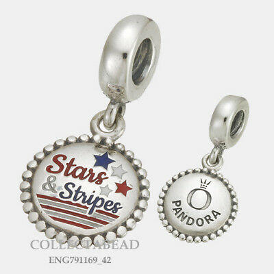 Authentic Pandora Silver Stars and Stripes Engraved Dangle Bead ENG791169_42