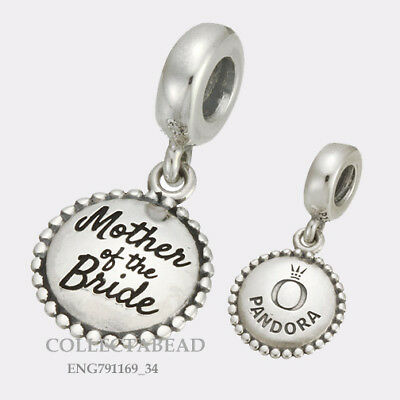 Authentic Pandora Silver Mother of the Bride Engraved Dangle Bead ENG791169_34