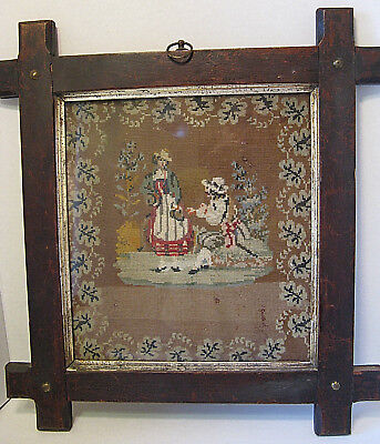 Early Antique Framed Needlepoint Picture Of A  Man And Woman