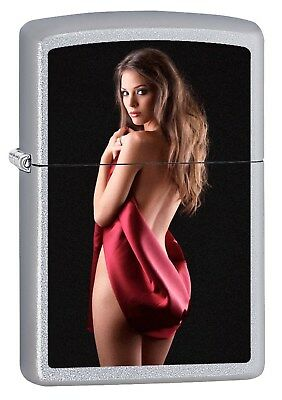 Zippo Lighter: Cover Me Up - Satin Chrome *Sexy Pin-up Girl* 75792