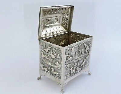 Fabulous animal chased Eastern SILVER TEA CADDY BOX, c.1900 India, Siam or Burma