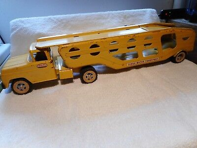 Vintage Tonka Motor Transport 2 Pc 1960's Yellow  Toy Truck & Trailer Look Close