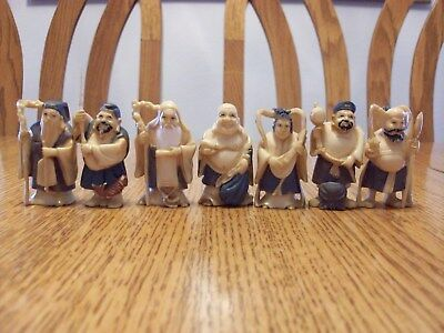 Vintage Lot Japanese Netsuke Asian Seven Lucky Gods Of Fortune Signed Figurines