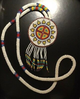 Vintage Native American Seed Bead Leather Medallion Handmade Long Necklace