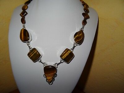 France AAA Tiger Eye Necklace / 925 Silver Stamped