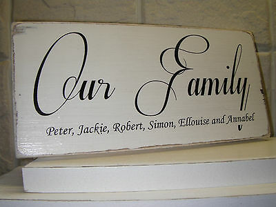Shabby Chic Our Family, Plaque, Sign. 100% Handmade, Solid Wood. Beautiful Gift.