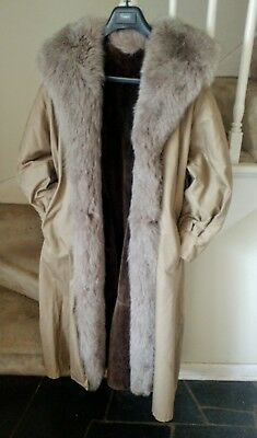 Ladies Fur Lined Trench Coat With a Fox Collar