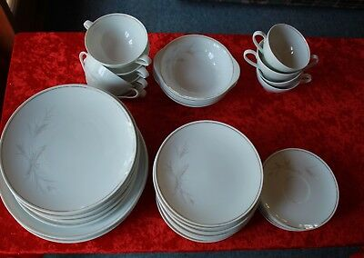 vintage NORITAKE JAPAN WINDRIFT 6117 dinner set + extras  soups cups plates 42pc