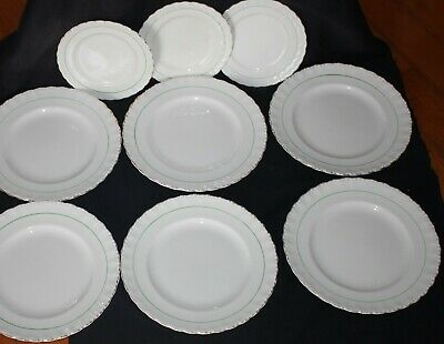vintage GRINDLEY Creampetal dinner plates white green line gold crimped edge 9pc
