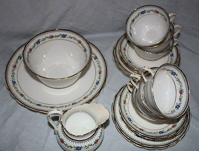vintage tea set TUSCAN CHINA ENGLAND milk sugar cake plate 6 cups saucers 19 pcs