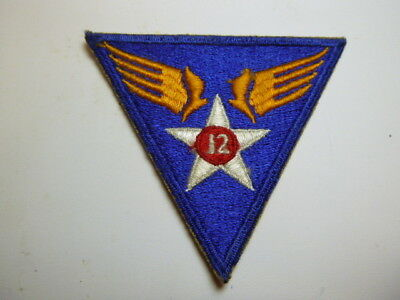 A   WW 2 U S Army 12th Air Force Cut Edge Snow Back Patch