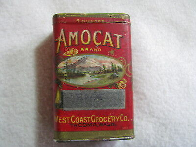 Full 4 oz.  Amocat Sage Tin with Graphic Paper Label Yellow Roses Mt Rainier