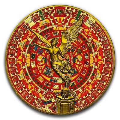 2017 1 oz .999 fine silver Aztec Calendar Libertad - 24 kt gilded and color