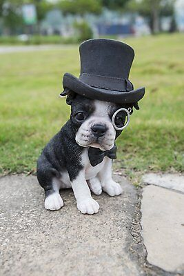 Boston Terrier Dog With Top Hat Spectacle And  Bow Tie Statue Home Garden Decor