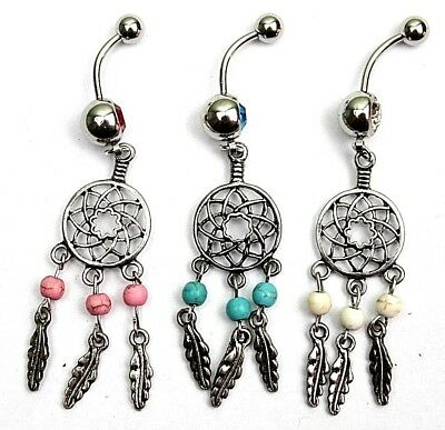 Web Feather Dream Catcher Charm Floral BELLY NAVEL Piercing Bar Ring Wicca New