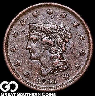 1841 Large Cent, Braided Hair, Very Choice AU++ Early Copper