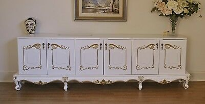 Long Low 6 Door French Style White & Gold Sideboard / Buffet / Cabinet / Dresser