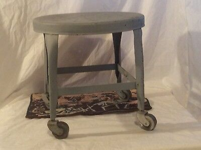 Vintage Industrial UHL Toledo Steel Mechanic Stool Steampunk Castors