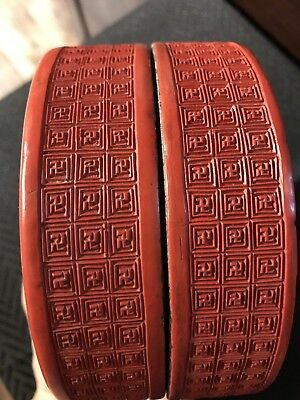 Antique Chinese Ming Red Deep Carved 卍 Cinnerbar Lacque Circle Box Asian China