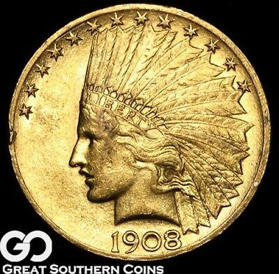 1908 Gold Eagle, $10 Gold Indian ** Free Shipping!