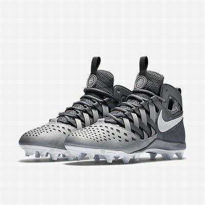 🚨New Nike Huarache V5 LAX Lacrosse Cleats Shoes Grey/White 807142-010 Sz. 10.5