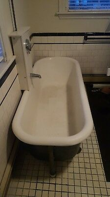 Massive 74 inch Porcelain Claw Foot Bath Tub  1884 Victorian Cast Iron