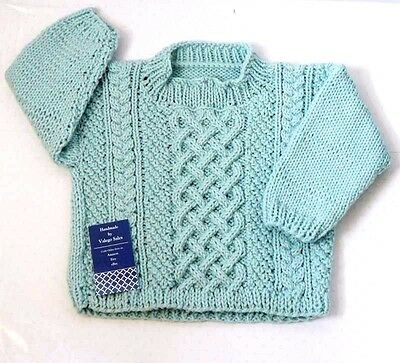 Knitting Cable Sweater Jumper for Baby Toddler 12 - 24 mo. Green Color #158 Sale