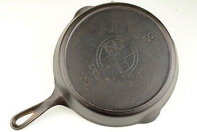Vintage Slant Logo Griswold No 8 (704L) Cast Iron Skillet Restored Condition