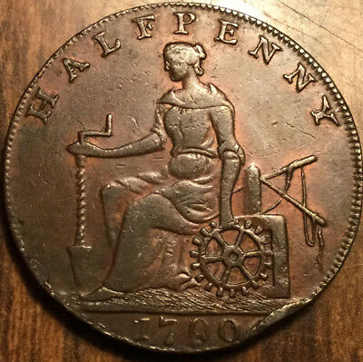 1790 United Kingdom Shakespeare Dublin and London half penny token